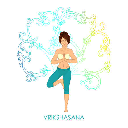 shaping: Yoga for women. Vrikshasana - tree pose (brunette woman). The image can be used for your business, as advertising in yoga studios, shaping, fitness centers, fitness