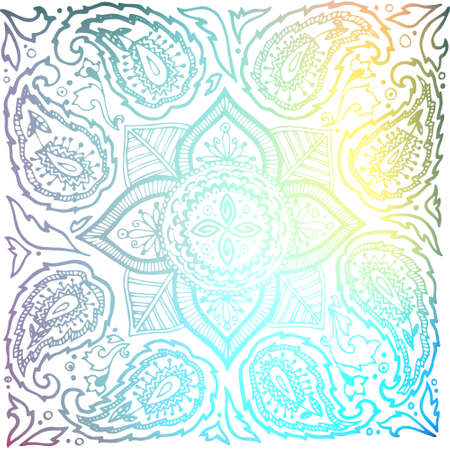 the substrate: Indian mandala. Color pattern (isolated). The image can be used as a background template, the substrate, wallpaper, when printing on the cloth in the textile industry