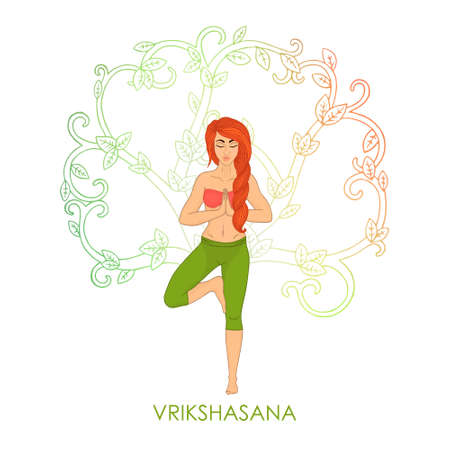 shaping: Yoga for women. Vrikshasana - tree pose (red hair woman). The image can be used for your business, as advertising in yoga studios, shaping, fitness centers, fitness