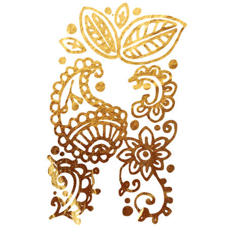 My India Initials. Texture of gold. Can be used to design a book