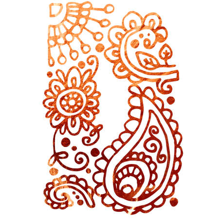 My India Initials. Texture of copper. Can be used to design a book
