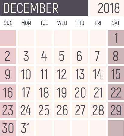 December 2018 Calendar planner design template. Lokanichny style. Vector Stock Photo