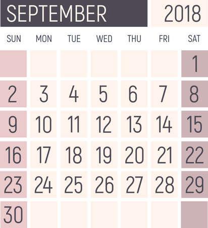 September 2018 Calendar planner design template. Lokanichny style. Vector Stock Photo