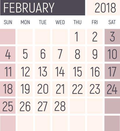 February 2018 Calendar planner design template. Lokanichny style. Vector
