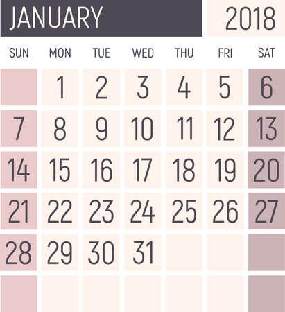 January 2018 Calendar planner design template. Lokanichny style. Vector Stock Photo