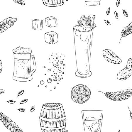 Seamless pattern pattern of food doodles. The image can be used to design the menu of cafes, restaurants, shops