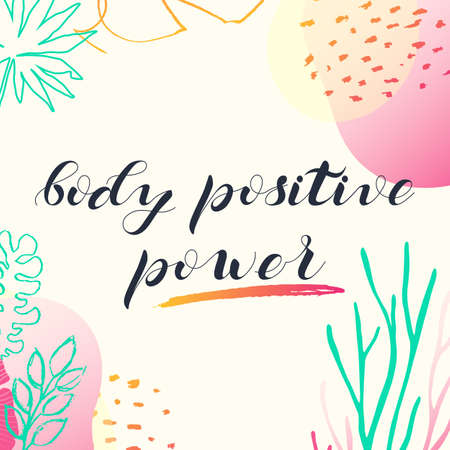 Vector website design. A poster calling for the adoption of his appearance. Lettering body positive power.
