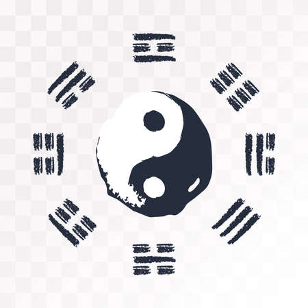 The symbol of yin yang. Signs from the book of changes. Divination. Vector illustration on an isolated background.
