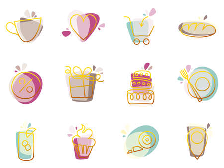 Cafe and confectionery color icon set  isolated on white background.