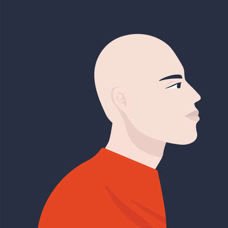 Social media avatar. Profile Asian male monk. Vector trendy minimal style. Illustration on an isolated background.