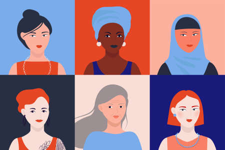 Women of different nationalities icon set for social media. Vector image profile of people.
