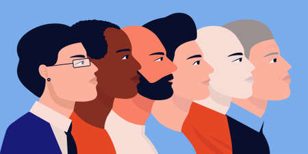 Men unite. People of different nationalities set for social media. Vector image profile of people.