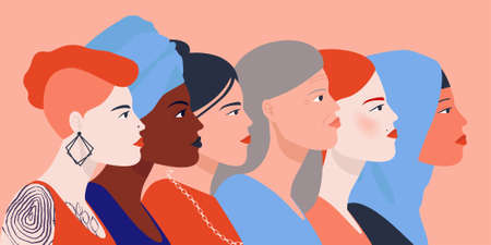 Women unite. Girl of different nationalities set for social media. Vector image profile of people.