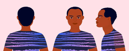 Man from different angles. Front, side, rear view. Profile African boy. Vector illustration on an isolated background. Illustration