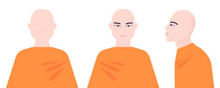 Monk from different angles. Front, side, rear view. Profile asian man. Vector illustration on an isolated white background. Ilustrace