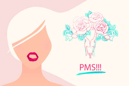 The girl started PMS. A woman is stressed during menstruation. Vector illustration of a calendar, the beginning of the cycle, menstrual cup.
