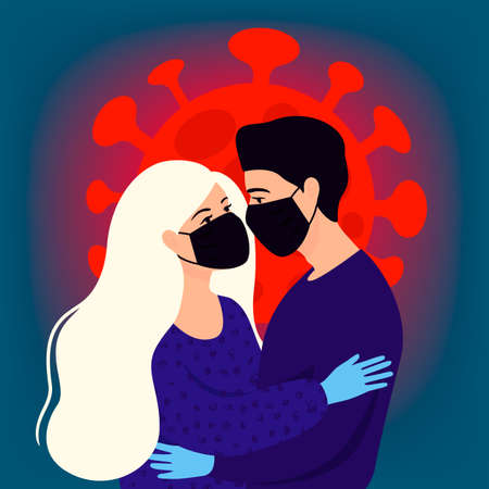 Lovers man and woman in masks and gloves. Kiss, hugs, support during isolation. Concept of coronavirus quarantine 2019-nCoV.
