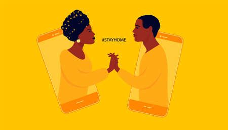 Communications of people in the period of quarantine and isolation. People meet and chat online. Colorful yellow concept. African American woman and man.