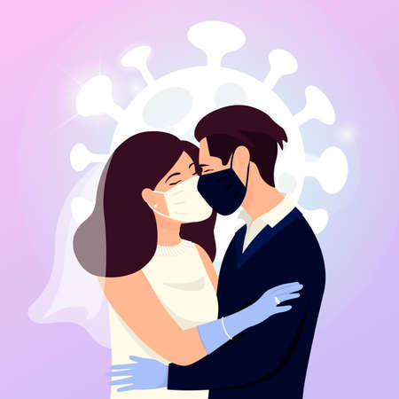 Save the date concept of coronavirus 2019-nCoV. Quarantine wedding. A man and a woman get married. Kiss, hugs, support during isolation.