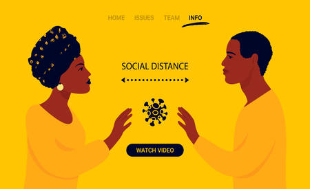 Communications of people in the period of quarantine and isolation. People on isolation. Colorful yellow concept. Social distance during a pandemic. Illustration