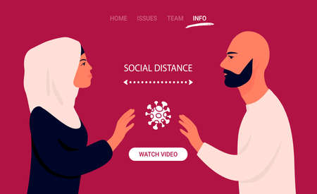 Communications of people in the period of quarantine and isolation. People on isolation. Colorful red concept. Social distance during a pandemic. Illustration