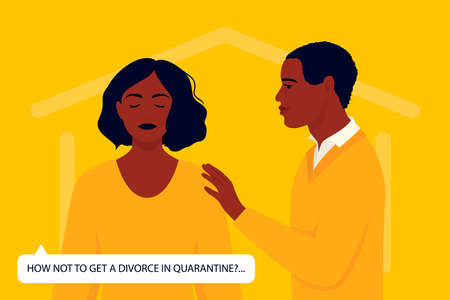 Psychological problems in the family during quarantine. The crisis of relations. The partner is trying to talk about the problem. Concept of coronavirus quarantine 2019-nCoV.