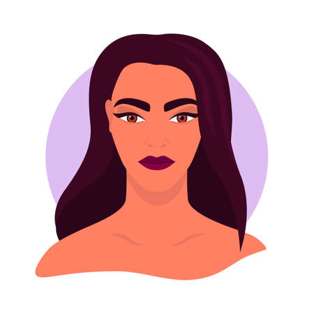 Social media avatar profile a woman. Portrait of a brunette girl. Colorful concept. Vector trendy minimal style. Illustration on an isolated background.