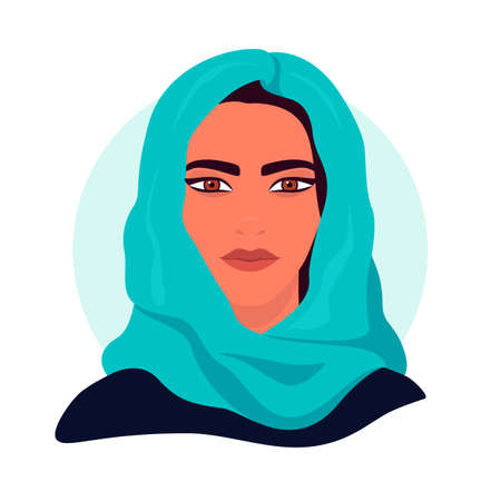 Social media avatar profile a woman. Portrait of a muslim girl in a turquoise shawl. Colorful concept. Vector trendy minimal style. Illustration on an isolated background.