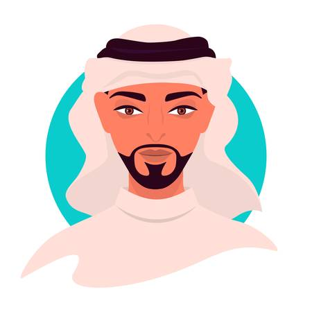 Social media avatar profile a young man. Portrait of an Arab man. Colorful concept. Vector trendy minimal style. Illustration on an isolated background.