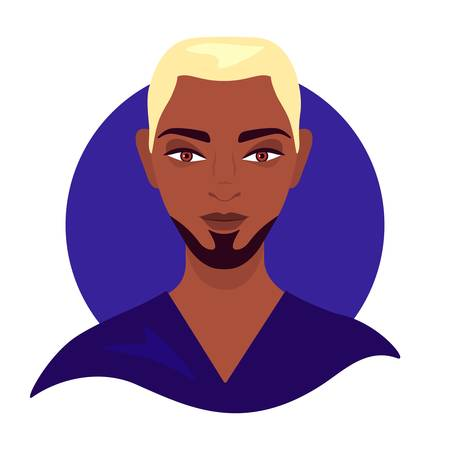 Social media avatar profile a young man. Portrait of well-groomed man mulatto. Colorful blue concept. Vector trendy minimal style. Illustration on an isolated background.