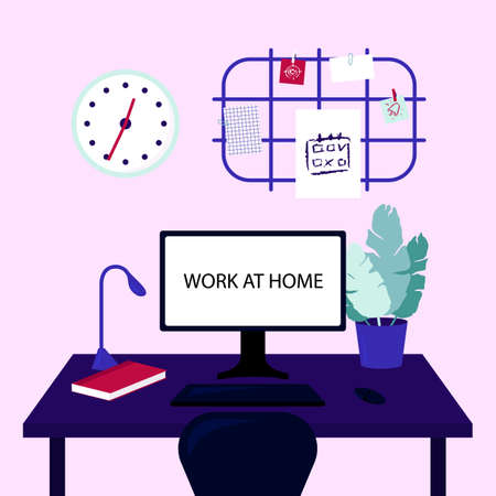 Organization of the workplace. Work at home concept of coronavirus 2019-nCoV. Colorful vector illustration.