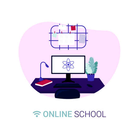 Organization of the workplace. Distance learning in online school concept of coronavirus 2019-nCoV. Colorful vector illustration. Иллюстрация