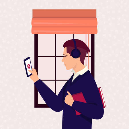 A student in distance learning at an online school. The boy in headphones holds the phone in his hand. Colorful vector illustration concept of coronavirus 2019-nCoV.