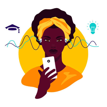 African american teenager study online using smartphone. Distance learning in online school concept of coronavirus 2019-nCoV. Colorful vector illustration.