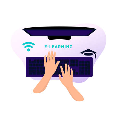 Hands are typing a message on the keyboard. Mock up computer. Distance learning in online school concept of coronavirus 2019-nCoV. Colorful vector illustration.