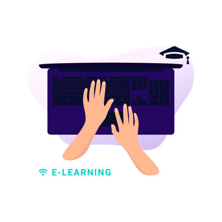 Hands are typing a message on the keyboard. Mock up laptop. Distance learning in online school concept of coronavirus 2019-nCoV. Colorful vector illustration.
