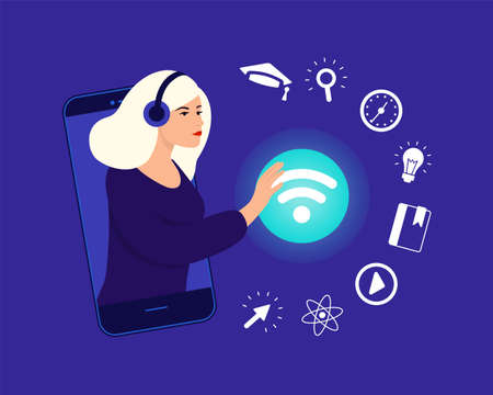 The girl connects to the wi-fi network for online training. Icon set e-learning. Distance learning in online school concept of coronavirus 2019-nCoV. Colorful vector illustration. Иллюстрация