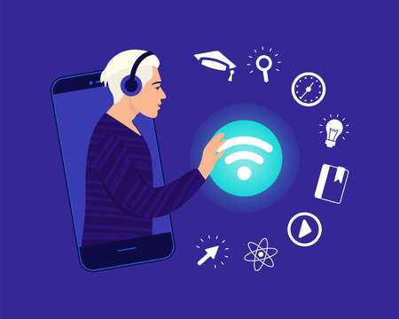 Teenager connects to the wi-fi network for online training. Icon set e-learning. Distance learning in online school concept of coronavirus 2019-nCoV. Colorful vector illustration.