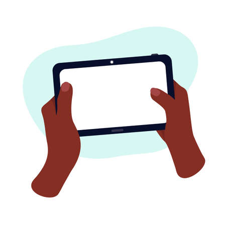 African hands are holding a gadget. Mock up tablet. communication and e-learning technologies.