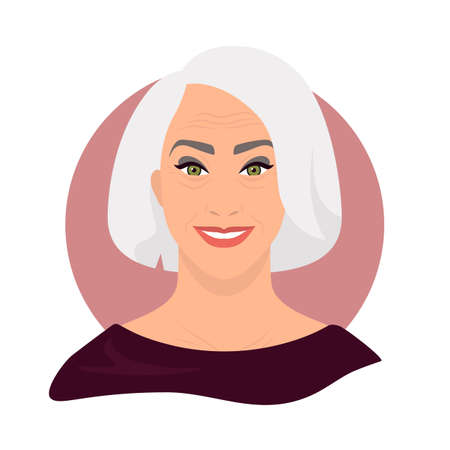 Social media avatar. Profile for an older person. Vector illustration trendy minimal style. Illustration on an isolated background.