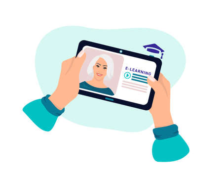 The student received a new lesson from the teacher. Learn online using your tablet. Distance learning in online school concept of coronavirus 2019-nCoV. Colorful vector illustration.