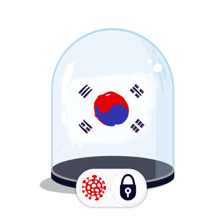 Korean flag under the glass dome. Closing borders during coronavirus infection. Countries are isolated from each other. Social distance.