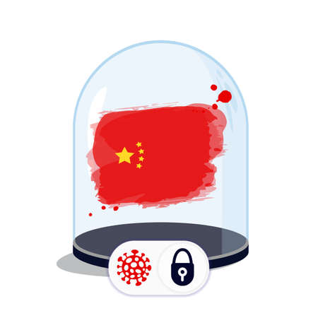 China flag under the glass dome. Closing borders during coronavirus infection. Countries are isolated from each other. Social distance.