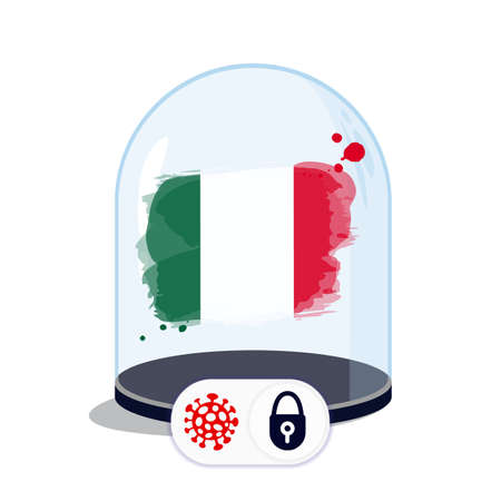 Mexico flag under the glass dome. Closing borders during coronavirus infection. Countries are isolated from each other. Social distance.