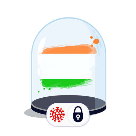 Indian flag under the glass dome. Closing borders during coronavirus infection. Countries are isolated from each other. Social distance. Illustration