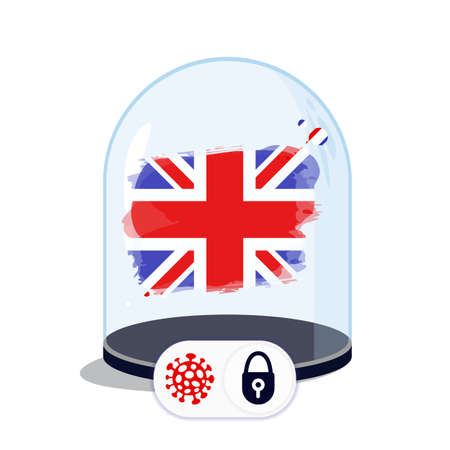 UK flag under the glass dome. Closing borders during coronavirus infection. Countries are isolated from each other. Social distance.