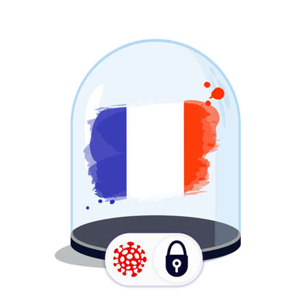 France flag under the glass dome. Closing borders during coronavirus infection. Countries are isolated from each other. Social distance.