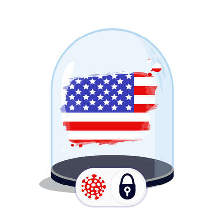 USA flag under the glass dome. Closing borders during coronavirus infection. Countries are isolated from each other. Social distance.