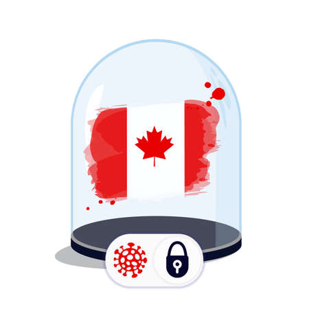Canada flag under the glass dome. Closing borders during coronavirus infection. Countries are isolated from each other. Social distance. Illustration