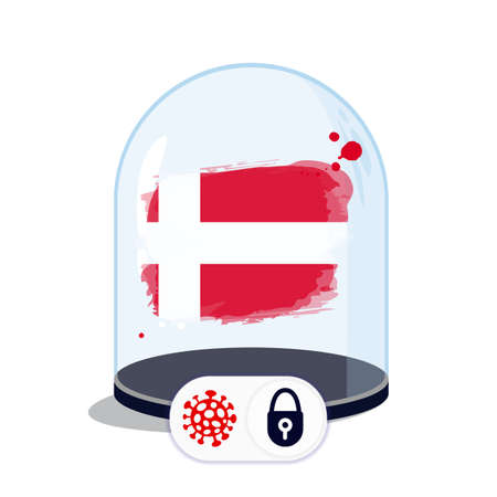 Denmark flag under the glass dome. Closing borders during coronavirus infection. Countries are isolated from each other. Social distance.